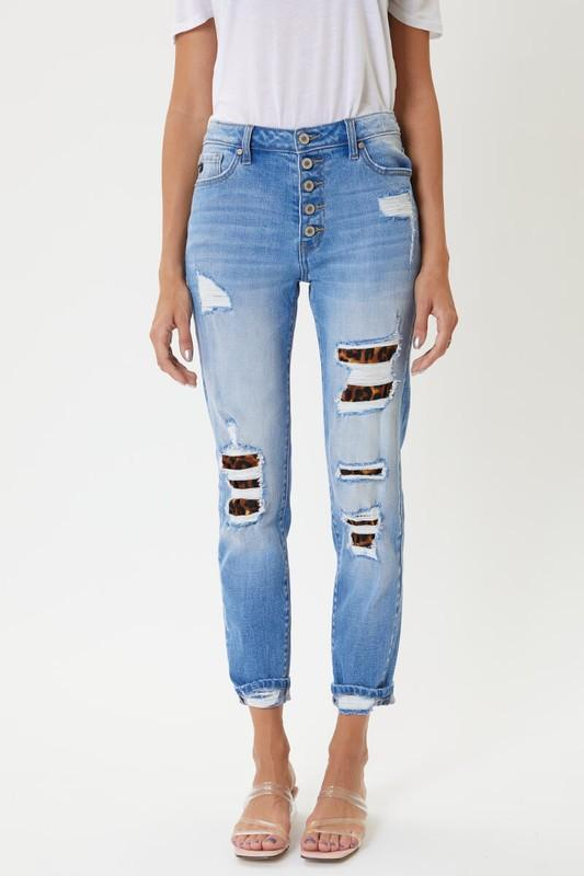 High Rise KanCan Leopard Patch Classic Skinny