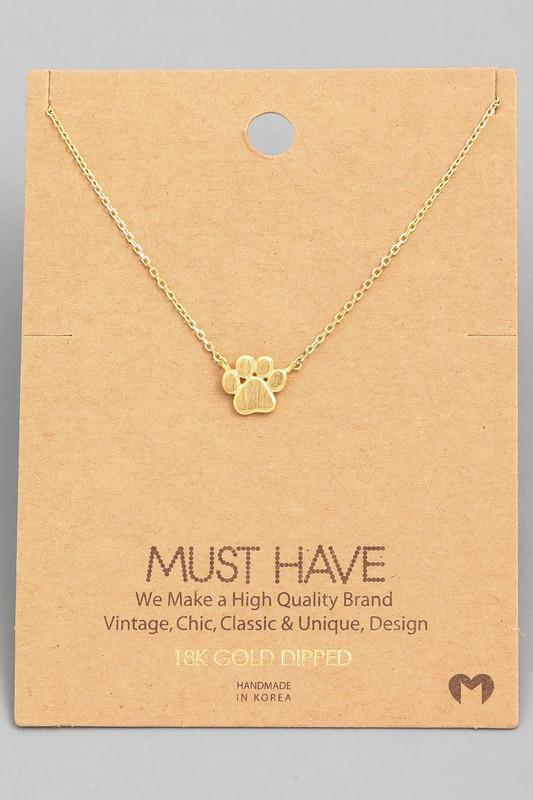 Mini Paw Print Charm Necklace