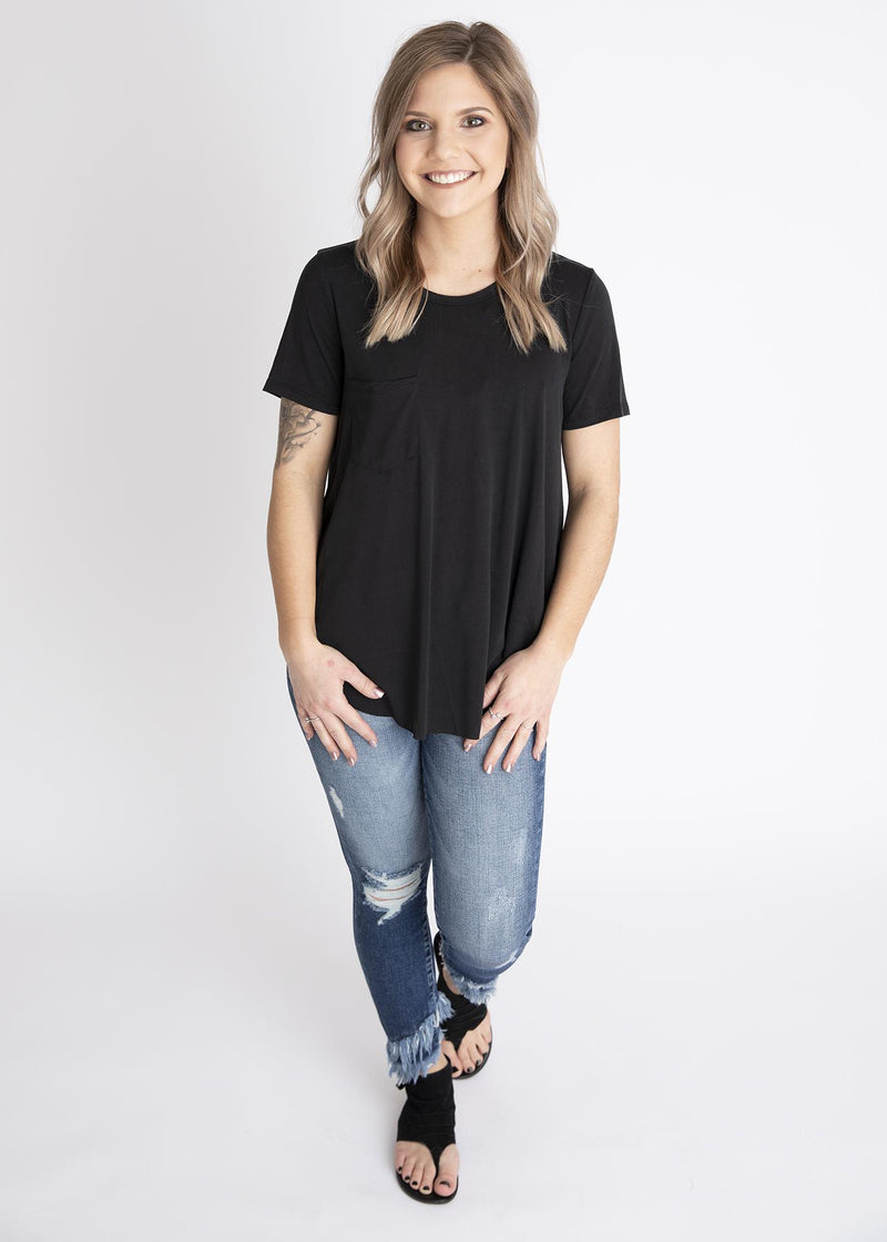 Black Basic Pocket Tee - LUSH