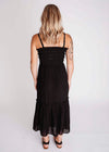 Black Shirred Cami Tiered Midi Dress
