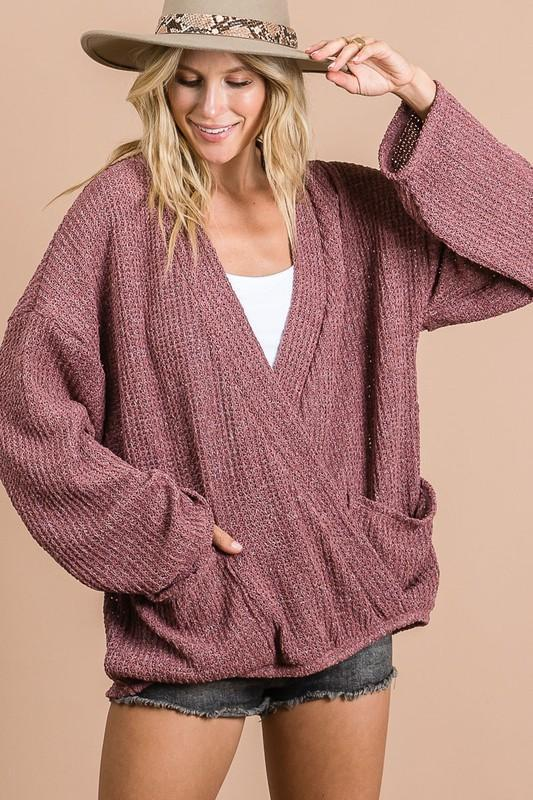 Overlapped Marsala Knit Sweater