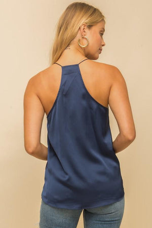 Navy Soft Satin Lace Cami Top