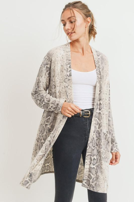 Brushed Snake Print Pocket Cardigan