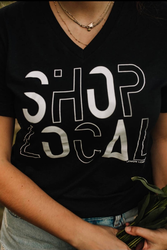 SHOP LOCAL V-Neck Graphic Tee