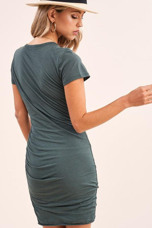Comfy Ruched Teal Mini Dress