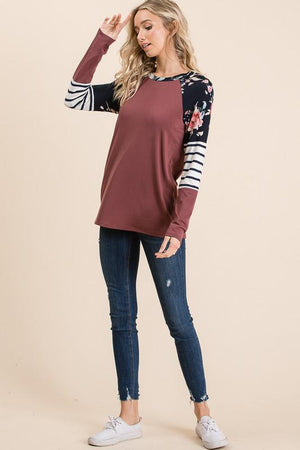 Dark Mauve Floral Long Sleeve