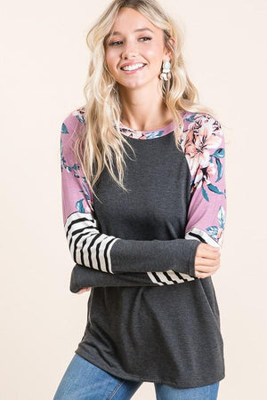 Charcoal Floral Print Long Sleeve