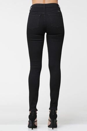 Kancan Mid-Rise Black Distressed Skinny Jeans