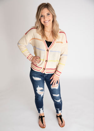 Makin Plans Multicolor Striped Cardigan