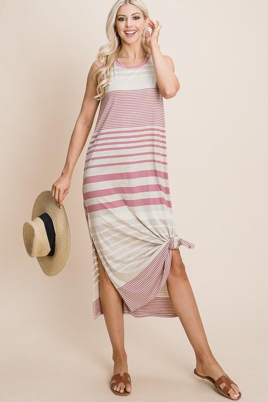 Mauve Dark Sleeveless Multi-Stripe Midi Dress