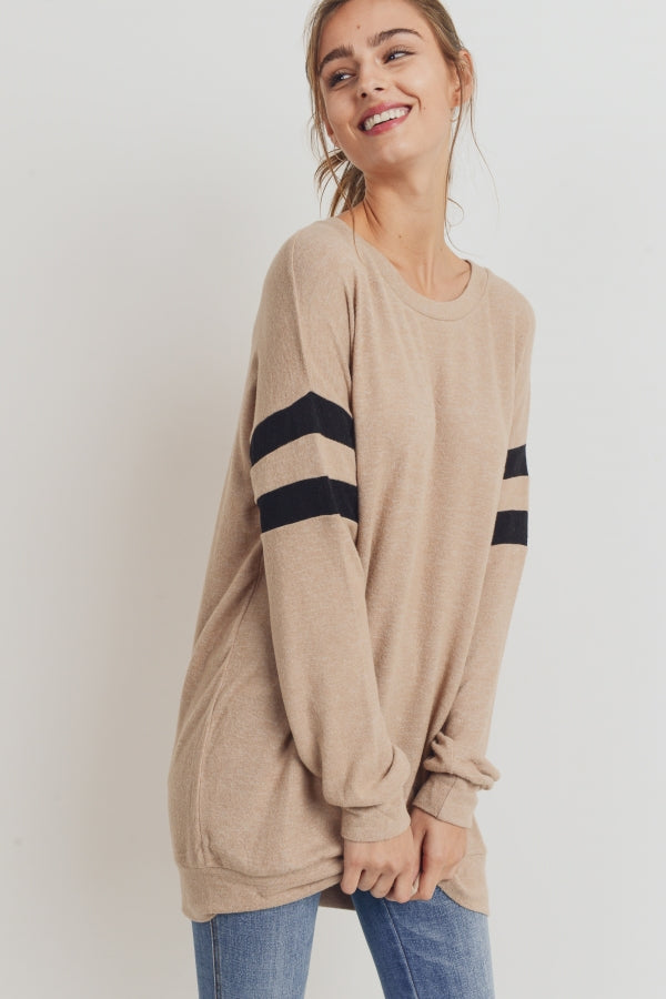 Taupe Jersey Stripe Long Sleeve