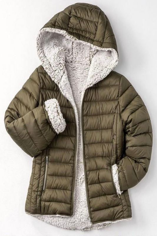Reversible Sherpa Fleece Puffer Jacket