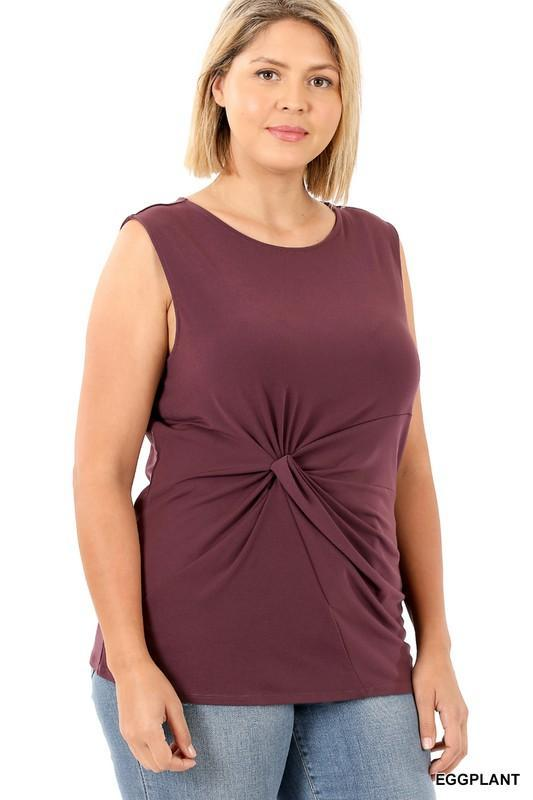 Curvy Babe Eggplant Sleeveless Top