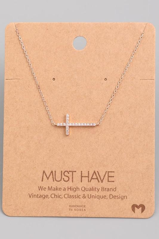 Side Cross Jewel Pendant Necklace.