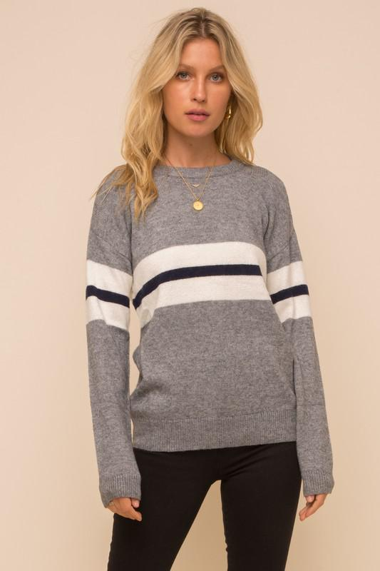 Stripe Panel Knit Sweater