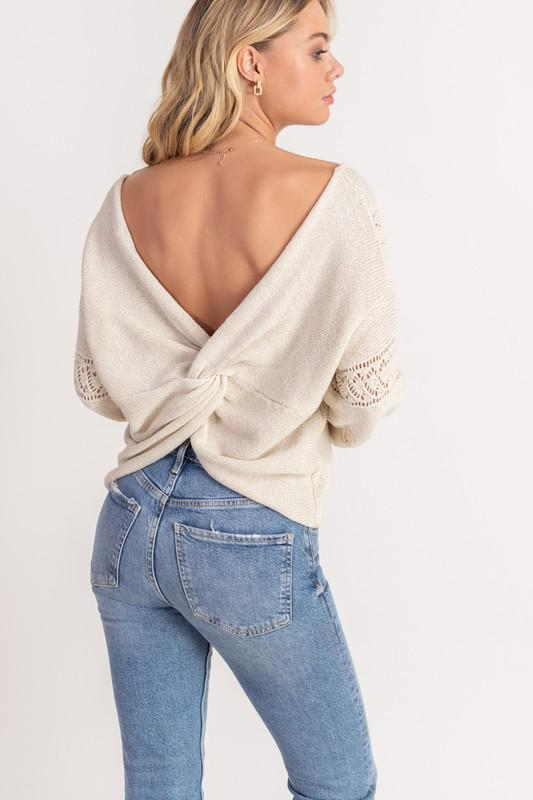 V-Neck Twist Back Crochet Top