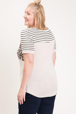 Curvy Babe Color Block Short Sleeve