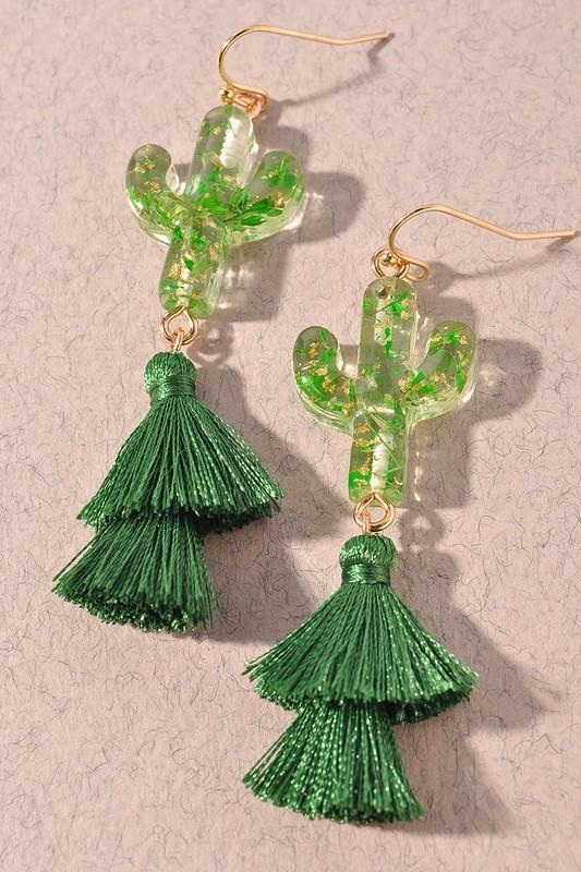 Cactus Green Earrings