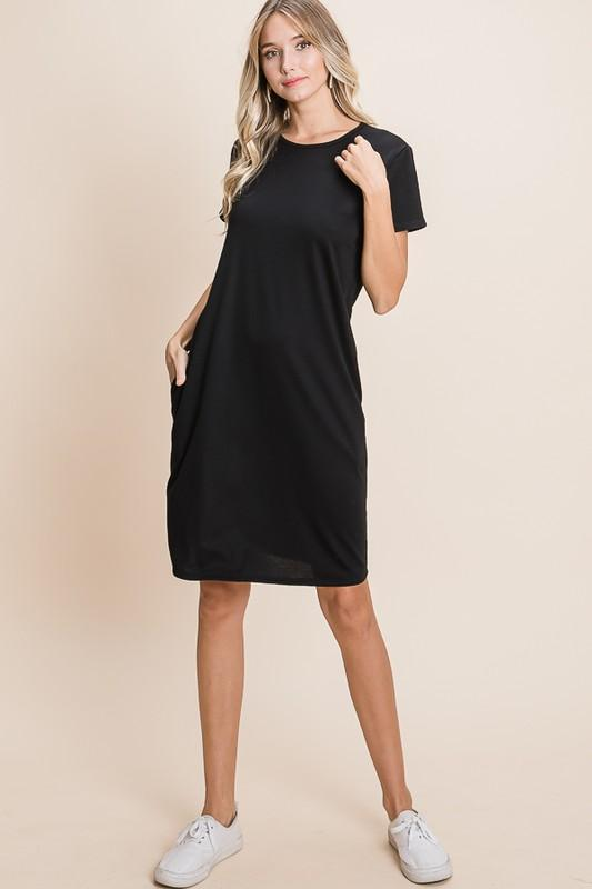 Relaxed Fit Basic Solid Black Dress