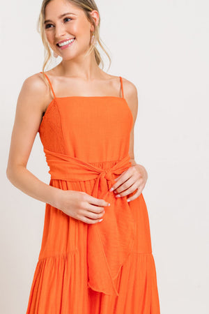 Tiered Tie Front Cami Maxi Dress