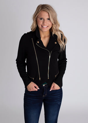 Women's Black Zipper Jacket with gold details