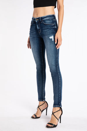 Kancan Mid Rise Distressed Super Skinny Jeans