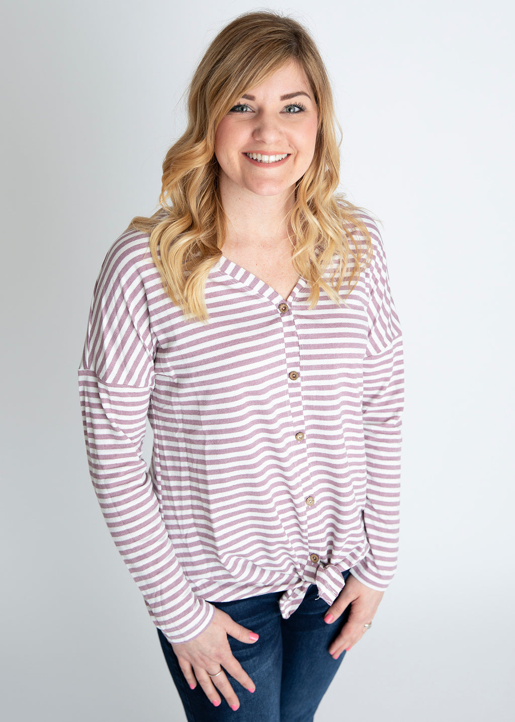 Let It Go Light Purple Stripe Top
