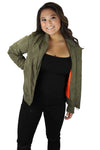 Women's Olive Bomber Jacket With Neon Orange Inside Two Pockets and Zipper