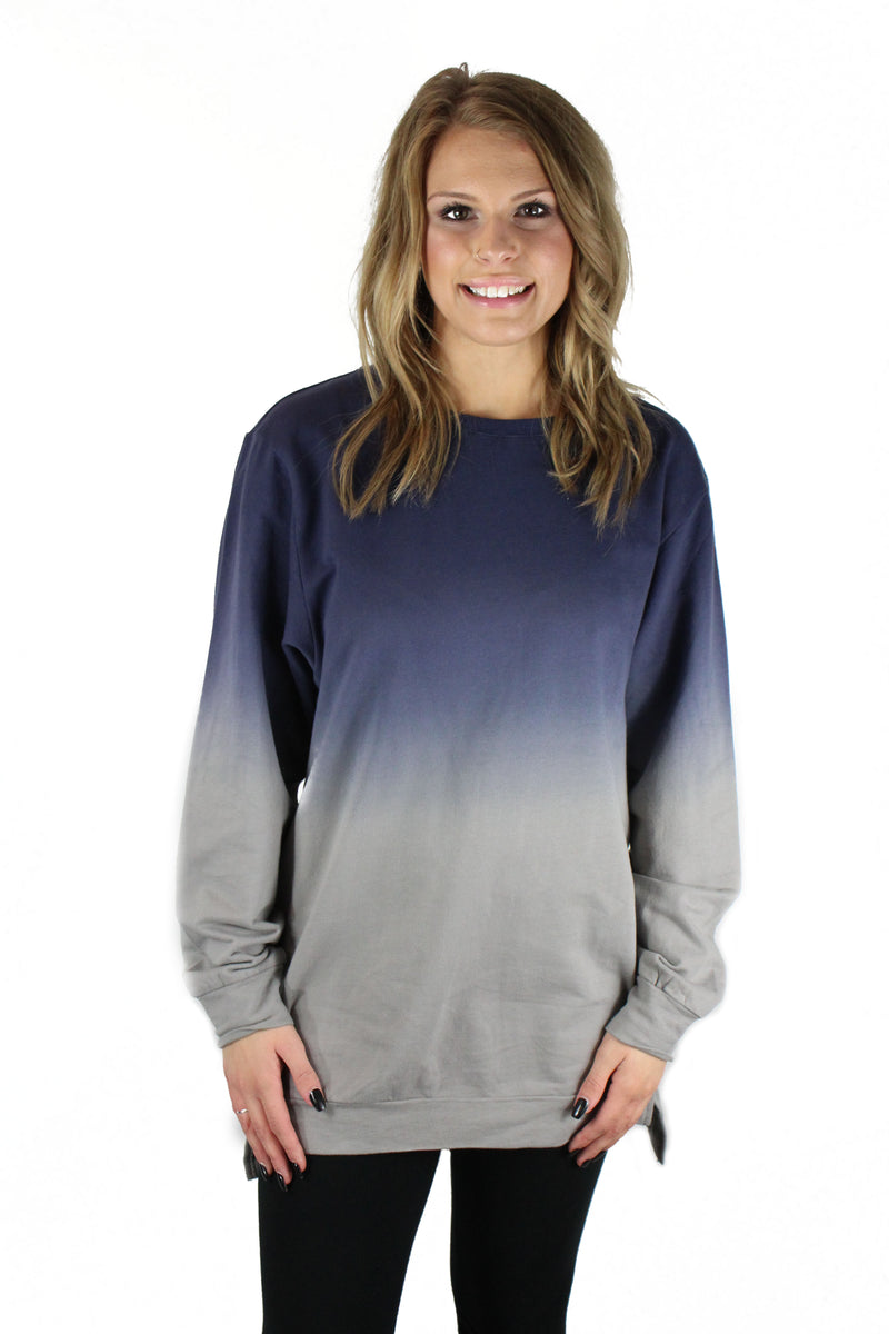 Blue and Grey Women's Ombre Sweater
