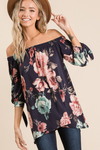 Off The Shoulder Navy Floral Top