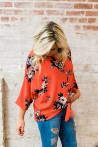 Red Floral Front Knot Top