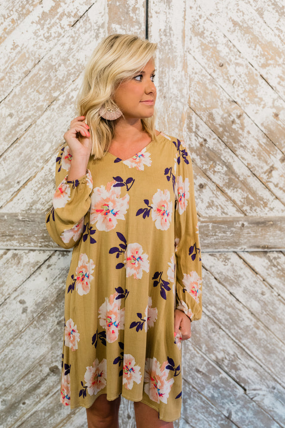 Mustard V-Neck Floral Shift Dress