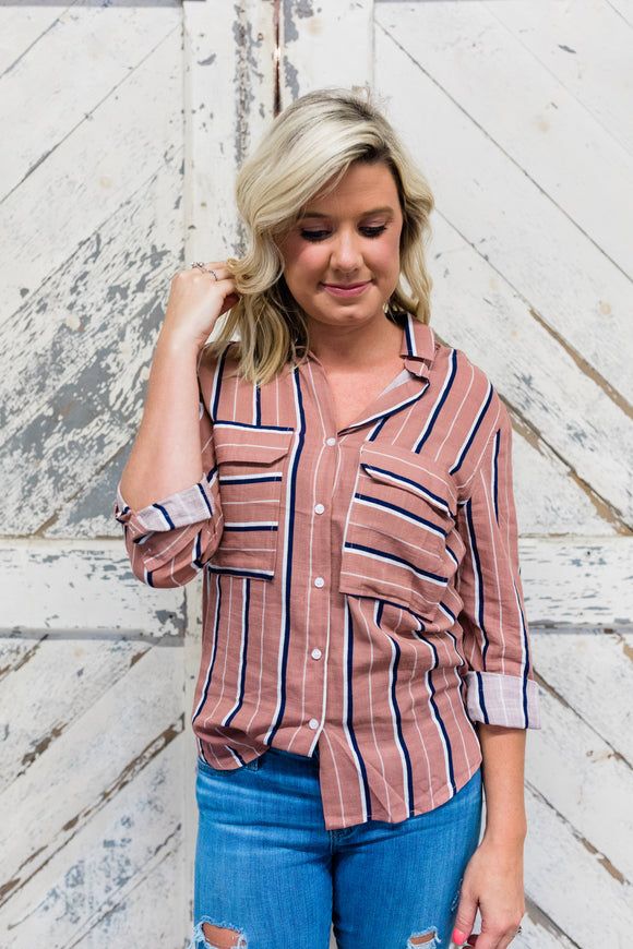 Mauve and Navy Striped Button Down