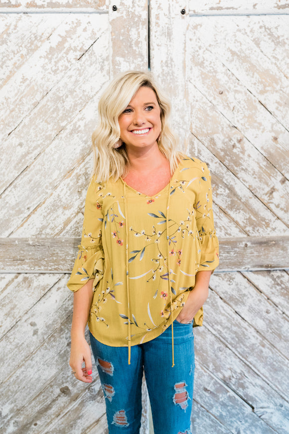 Mustard Floral Bell-Sleeve Top