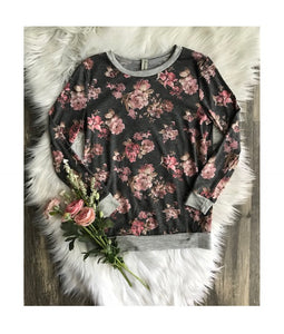 Gray and Pink Floral Long Sleeve Top