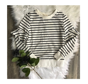 Long Sleeve Black and White Striped Ruffle Top