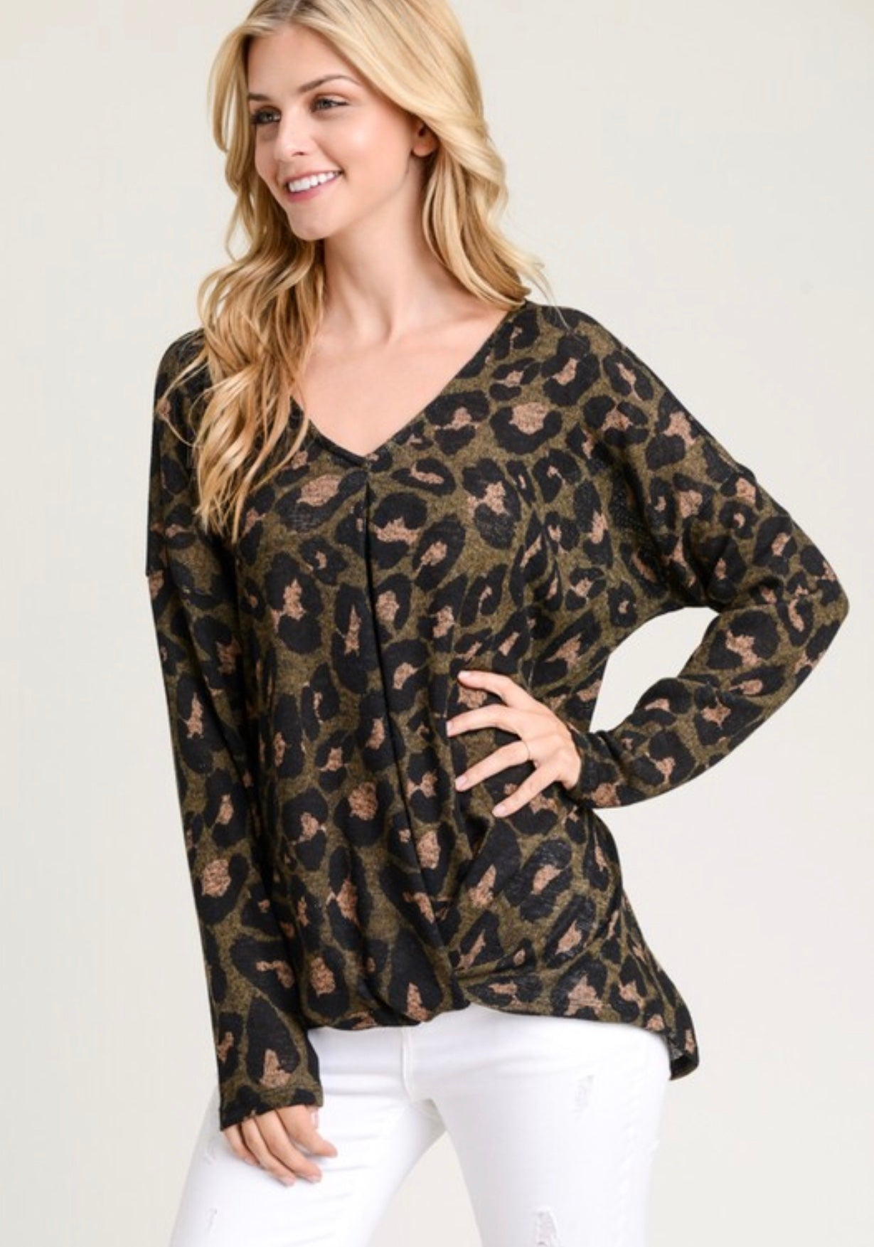 Long Sleeve Leopard Print Top with Front Knot
