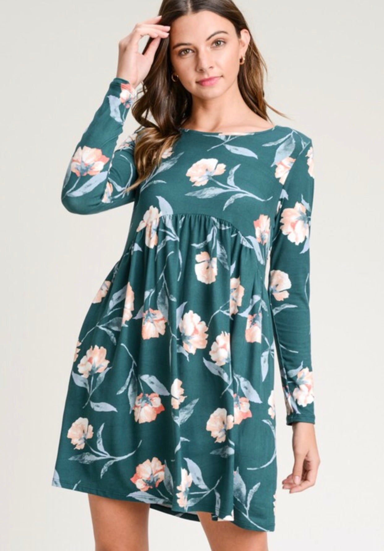 Teal Floral Dress with Cinched Waist