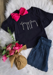 "Navy ""Always Love"" Embroidered T-Shirt"