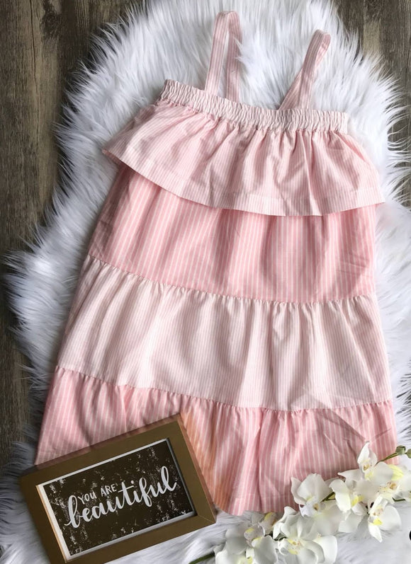 Pink Striped Tiered Tank Dress with Ruffle Detail