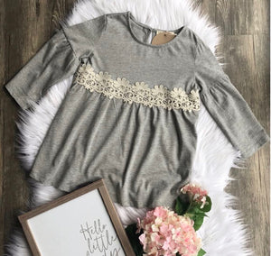 Heather Grey Long Sleeve Shirt with Lace Detail