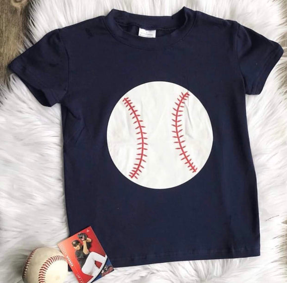 Baseball Graphic T-Shirt in Navy