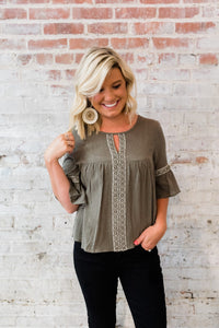 Olive Embroidered Peasant Top