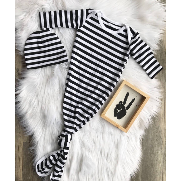 Black and White Striped Long Sleeved Onesie with Hat