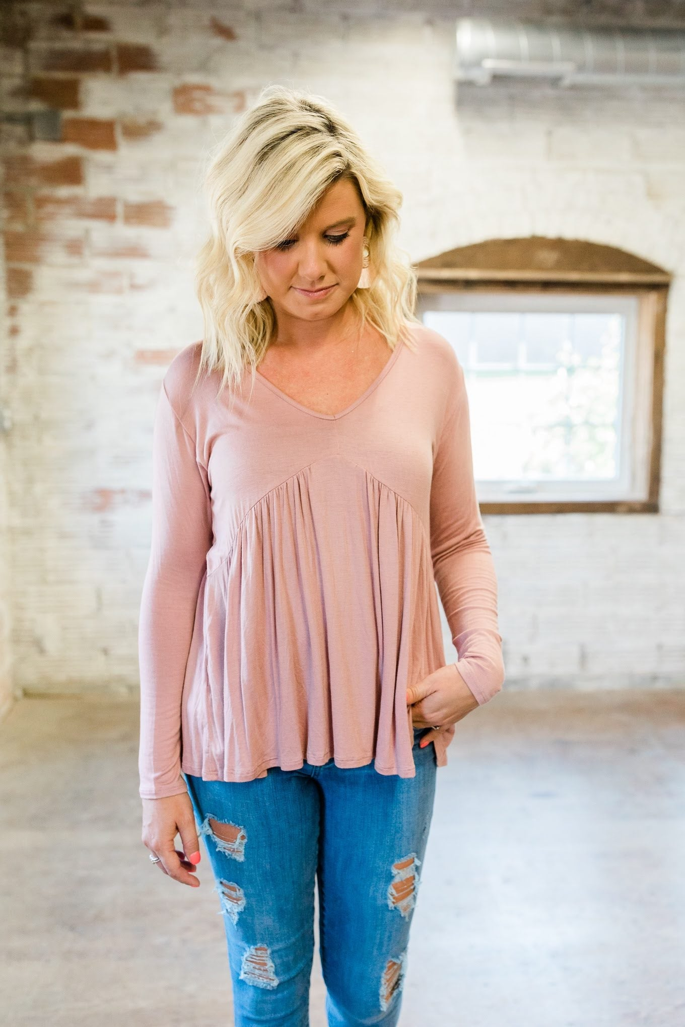 Dusty Pink Long Sleeve T-Back Top