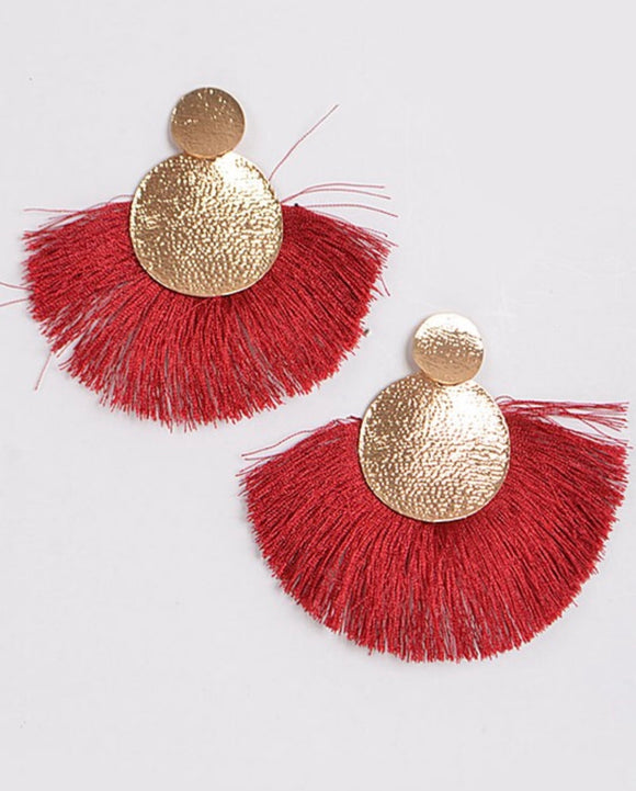 Hammered Circle Earrings with Red Fringe