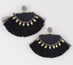 Boho Fringe Earrings with Beaded Accents