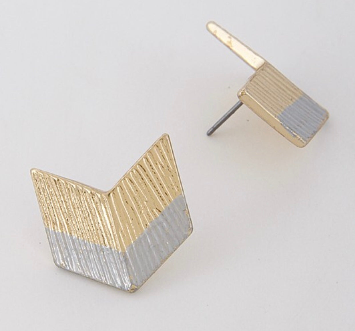 Gold and Silver Chevron Studs