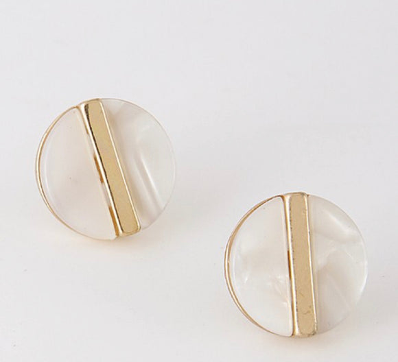 Gold and Pearl Circular Studs