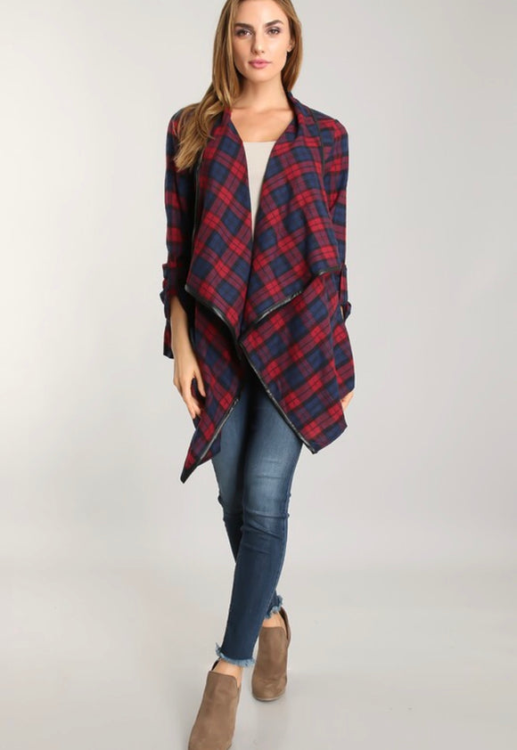 Red and Navy Plaid Open Front Jacket